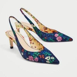 New Zara Floral Blue Heels Shoes 6